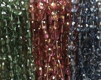 Crystal Mystic faceted Ovel, crystal faceted, crystal coated beads