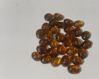 7x9mm Grossular Garnet Brown smooth Oval Cabochons, Pack of 6 Pc.