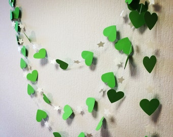 Magical GARLAND, Green and White garland, Hearts and stars PAPER garland