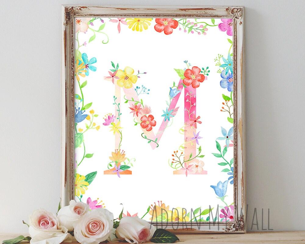 Letter m wall art monogram floral nursery decor instant for Letter wall art