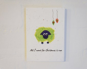 Ewe Christmas Plantable card