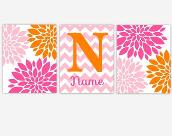 CANVAS Baby Girl Nursery Art Pink Orange Dahlia Mum Flower Burst Personalize Modern Floral Toddler Girl Room Baby Nursery Decor CHOOSE COLOR