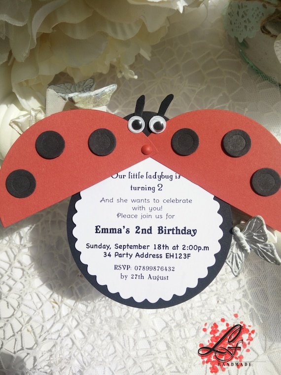 Details About Set Of 10 Handmade Ladybug Invitations For Birthday Party Baby Shower Or Christ