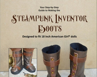 Steampunk Inventor Boots Doll Clothes Pattern for 18 Inch dolls - PDF