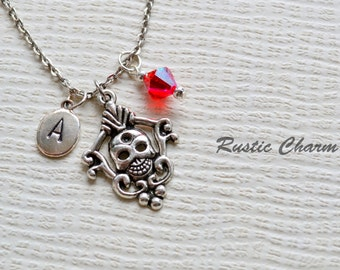 Personalized Birthstone Crystal and Initial Skull Charm Necklace