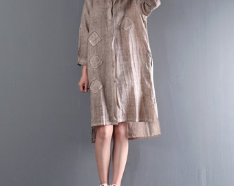Linen shirt women autumn plsu size clothing shirt dresses