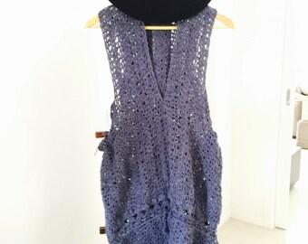 blue gray crochet long dress
