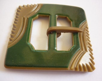 Vintage Tan & Green Belt Buckle Carved Celluloid NOS