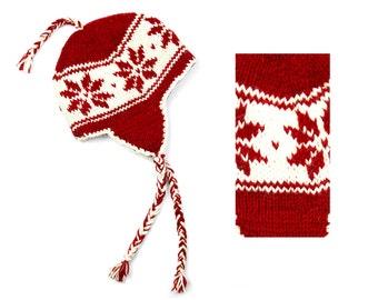 Hand Knit Wool Sherpa Hat, Winter Earflap Hat - Red Snowflake - 2653R