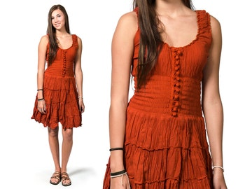 Smocked Peasant Dress - Pumpkin - 3093E