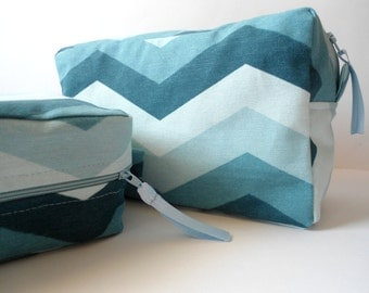 Large chevron makeup bag, Back to school, Pencil case, Large zigzag cosmetic bag, Set of 2, Toiletry bag, Gift for women, Teachers gift