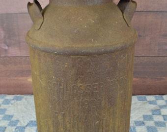 Vintage Antique Schlosser Fort Wayne Indiana Buhl Milk Can, Primitive Milk Can, Rustic Milk Can, Home Decor, Porch Decor, Farm House