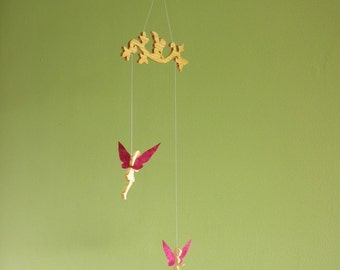 Mobile fairies in wood and paper