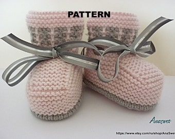 Knitted baby pattern PDF,baby booties/baby shoe/ knitted baby shoes in pink