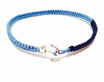 Anchor Bracelet - Anchor Macrame Bracelet - Nautical Bracelet - Silver Anchor Bracelet - Macrame Bracelet - Handmade Anchor Bracelet - Beach