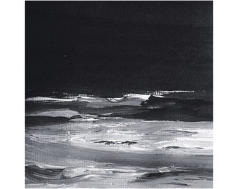 """Nightscape [ 6x6"""" abstract painting ]"""