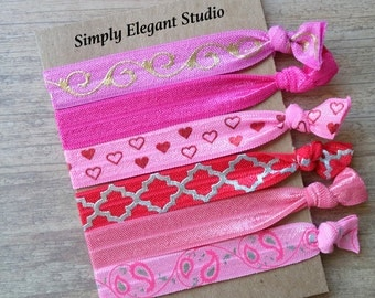 Pink and Red Fold Over Elastic Hair Ties, Pony Tail Hair Ties