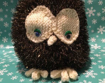 Hand knitted brown owl