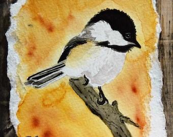 Watercolor Chickadees