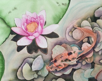 Koi and Water Lily Watercolor