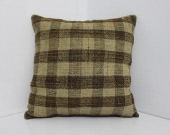 "Striped Designs Kilim Pillow 16"" x 16"" Vintage Turkish Rug Kilim Pillow Covers Cushion Covers Bohemian Turkish Pillows Throw Pillows"