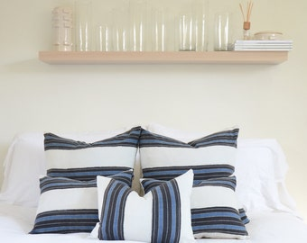 Blue & Grey Stripe Vintage Woven Pillow Cover | Various Sizes