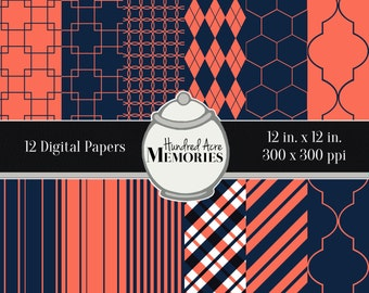 Digital Papers, Navy and Coral, 12 inches x 12 inches, 300 ppi (dpi), Scrapbooking and Craft Papers, Downloadable and Printable