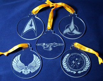 Star Trek Hand Engraved Christmas Decorations - Set of 5 Ornaments Starship Enterprise, Starfleet Insignia, Romulan, Klingon and UFP Emblem