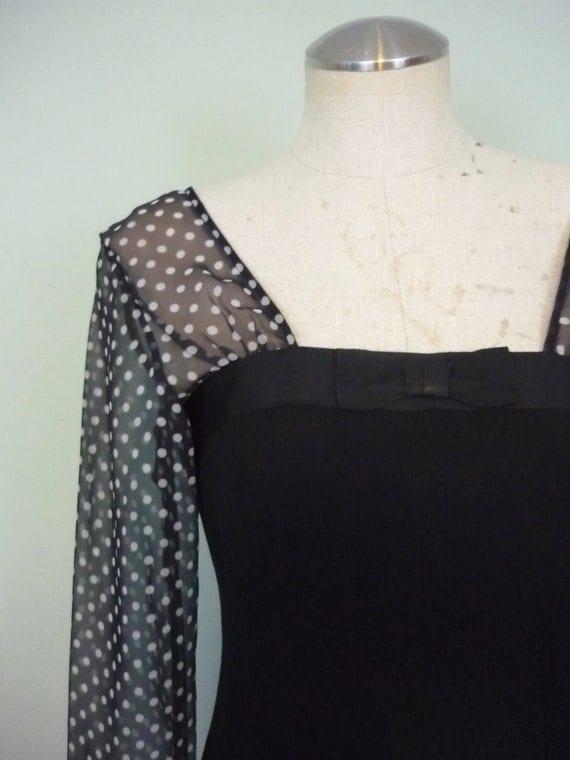 1980s Chiffon Sleeve Cocktail Dress / Black Sheath with Sheer Polka Dot Sleeves / 80s does 50s Wiggle Dress / Modern Size
