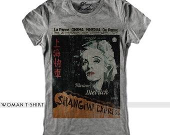 SHANGHAI EXPRESS woman t-shirt, scoop neck, white t-shirt, retro tees, vintage print, fashion t-shirt