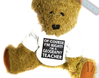Geography Teacher Novelty Gift Teddy Bear
