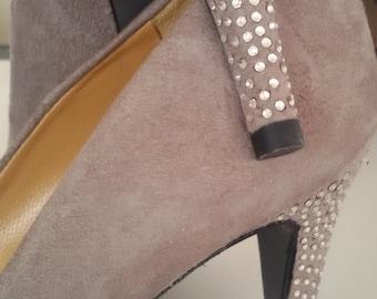 Powder Pink suede jewel pumps with 2 mm swarovski-covered heel