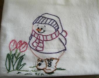 Embroidered Snowman Flour Sack Kitchen Dishcloth Towel