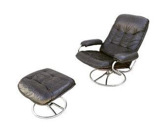 Mid-Century Italian Leather Chair and Ottoman