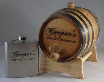 Engraved Oak Aging Barrel and Engraved Stainless Steel Flask Gift Set
