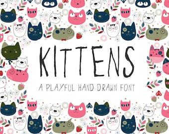 "Font ""Kittens"", hand drawn, handwritten, commercial license"