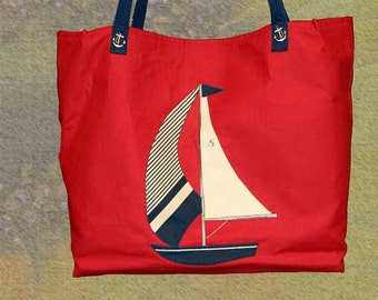 Red White and Blue Nautical Weekender Tote Bag  137