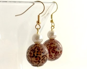 Wild Style! Leopard Print Wooden and Glass Pearl Bead Gold Earrings - Handmade