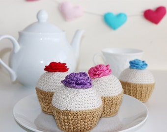 Crochet Cupcake/ Crochet Pincushion/ Kitchen Decor/ Home Decor/ Crochet rose/ Needle Cushion/ Pretend Food/ Play Food/ Nursery Decor