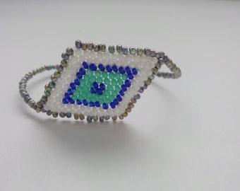 Handmade Grey,White,Blue,Turquoise Color Beads Bracelet