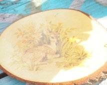 Vintage deer wooden plaque -Great Smoky Mountains