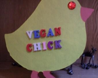 Free standing wooden 'vegan chick' ornament