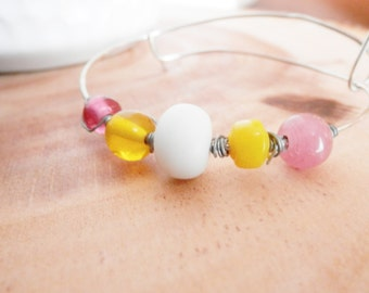 Pink Lemonade - Pink Yellow and White Adjustable Bangle Bracelet