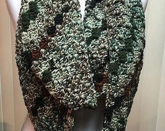 Camo Colors Scarf, Green and Brown Winter Scarf, Crochet Scarf, Infinity Scarf, Crocheted Scarf, Camouflage Scarf, Striped Scarf