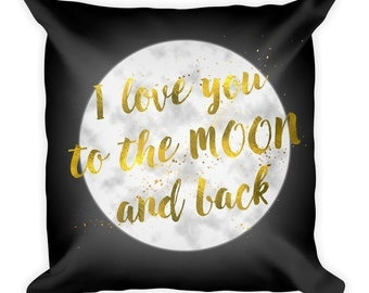 Black Pillow,I love you to the moon and back pillow, Room decor,Modern , Gold, Throw pillow, Gold and black pillow, Contemporary, Pillow