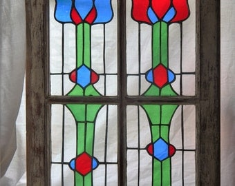 Vintage Window, Stained Glass Panes