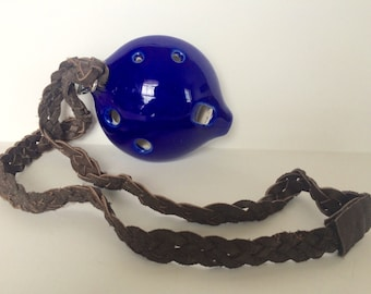 Ceramic Ocarina Flute handcrafted abd handpaibted Dark Blue real music instrument 7- hole ocarina with a leather strip
