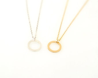 Small Circle Necklace/ Dainty Circle Necklace/ Karma Necklace/ Tiny Gold Circle Necklace/ Tiny Silver Circle Necklace