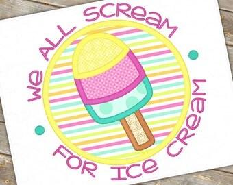 Ice Cream Cone Machine Applique Design 1072