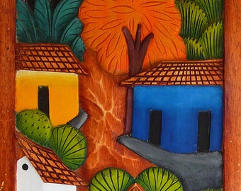 arbol naranja | wood panel, hand-carved and hand-painted